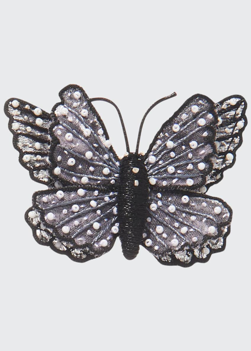 Image 1 of 1: Butterfly Brooch, Black/White
