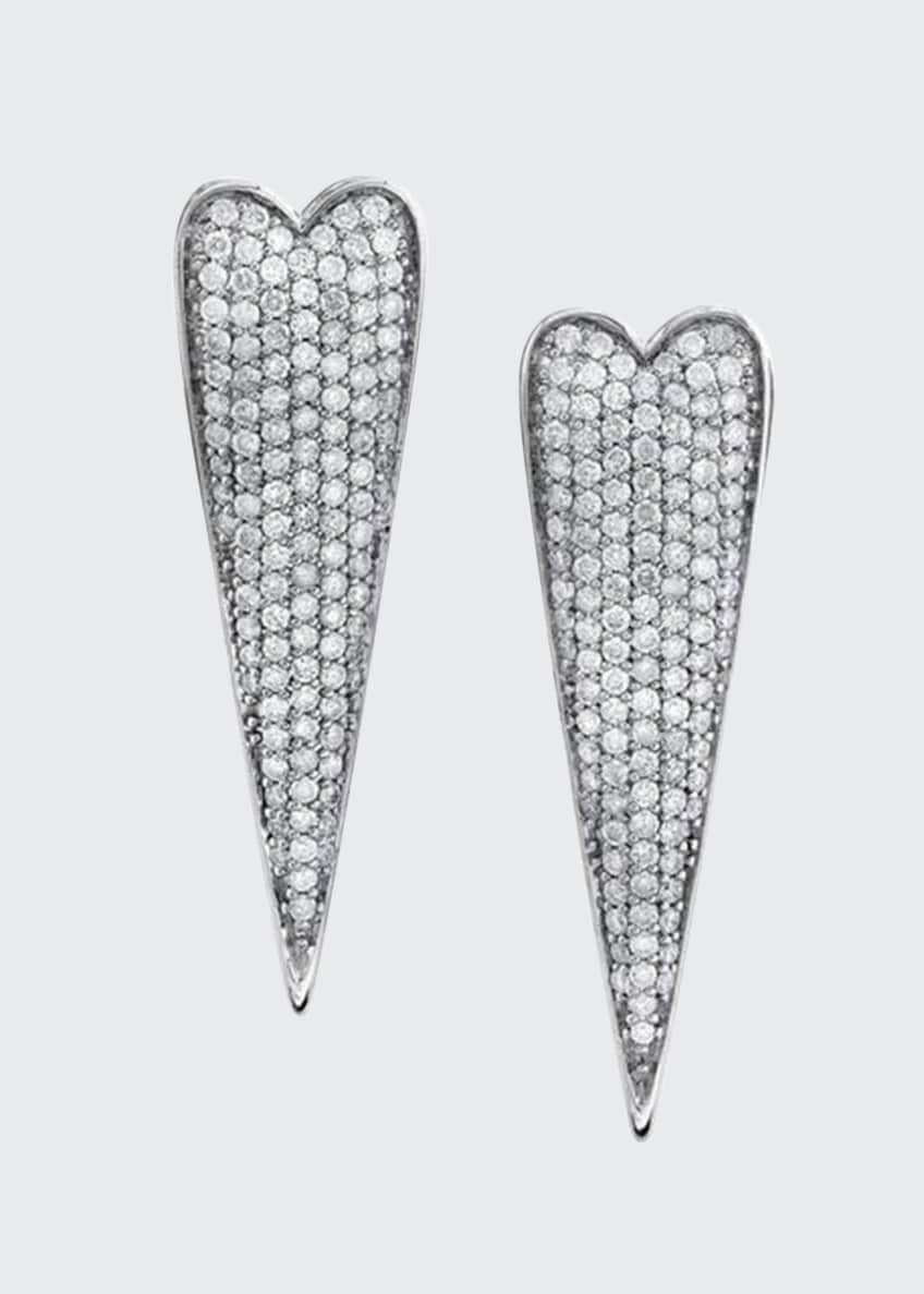 Elongated Diamond Heart Earrings