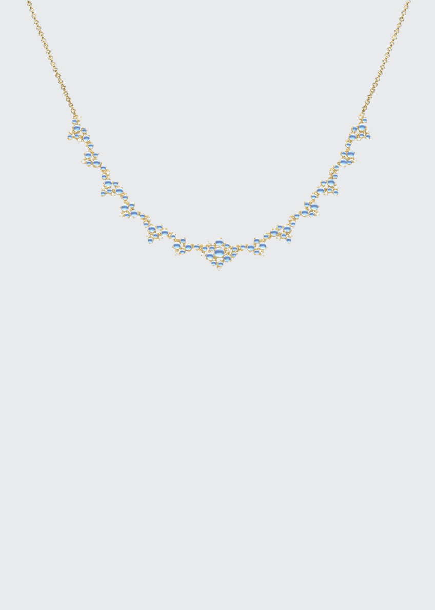 Image 1 of 1: Partial Bubble Cluster Diamond and Moonstone Necklace