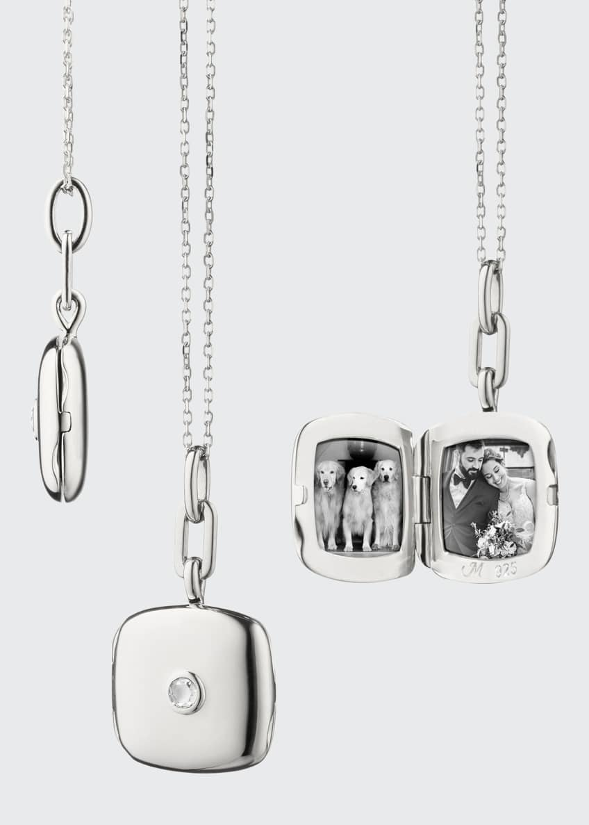 Image 1 of 1: Sterling Silver Cushion Slim Locket Necklace