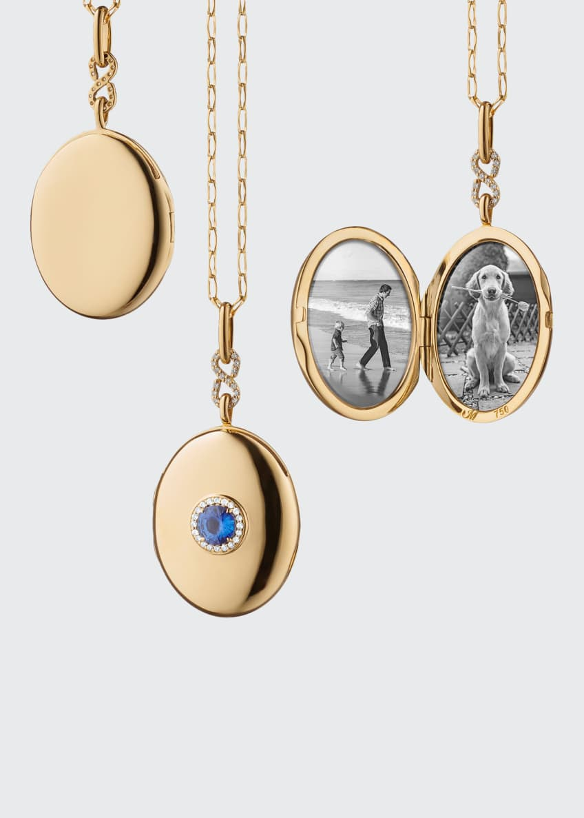 Image 1 of 1: Sapphire Infinity Locket Necklace