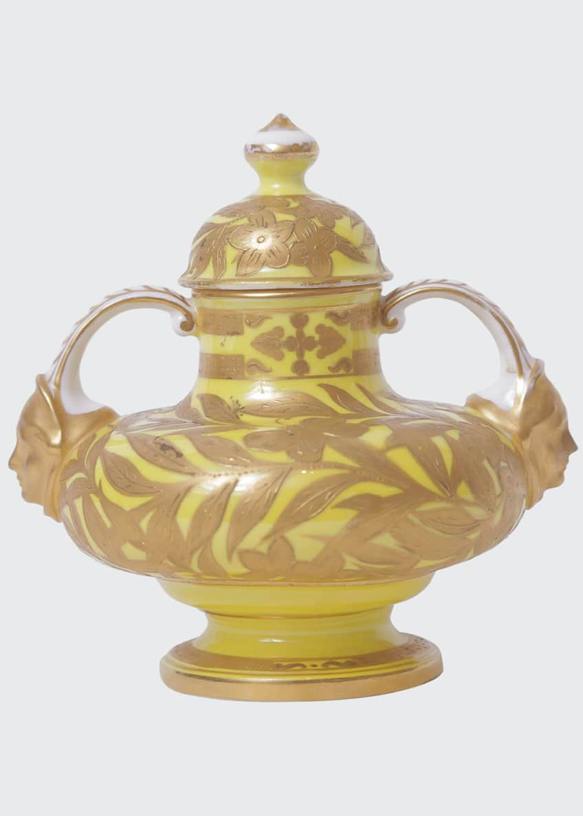 Image 1 of 5: Antique English Yellow Ground Heavily Gilded Vase with Face Handles