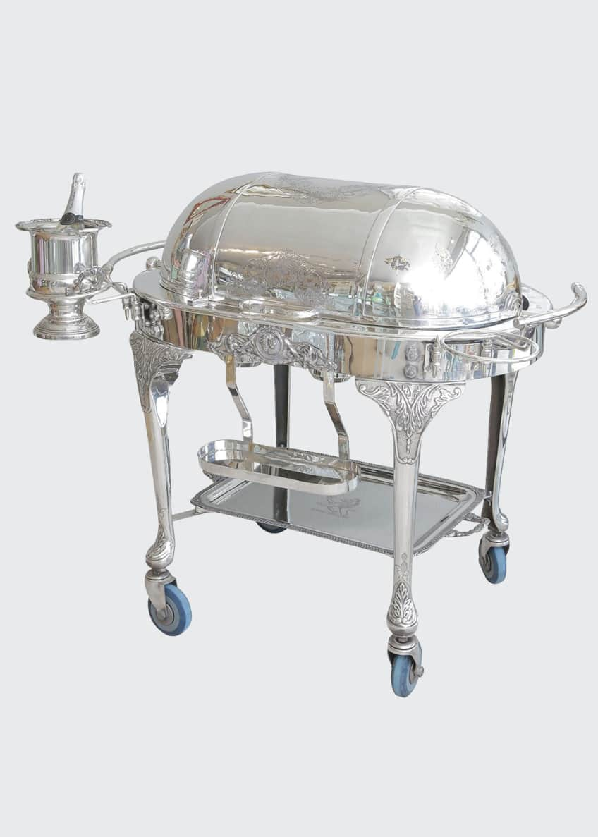 Image 1 of 5: Vintage Sheffield Silver Plated Carving Station/Meat Trolley
