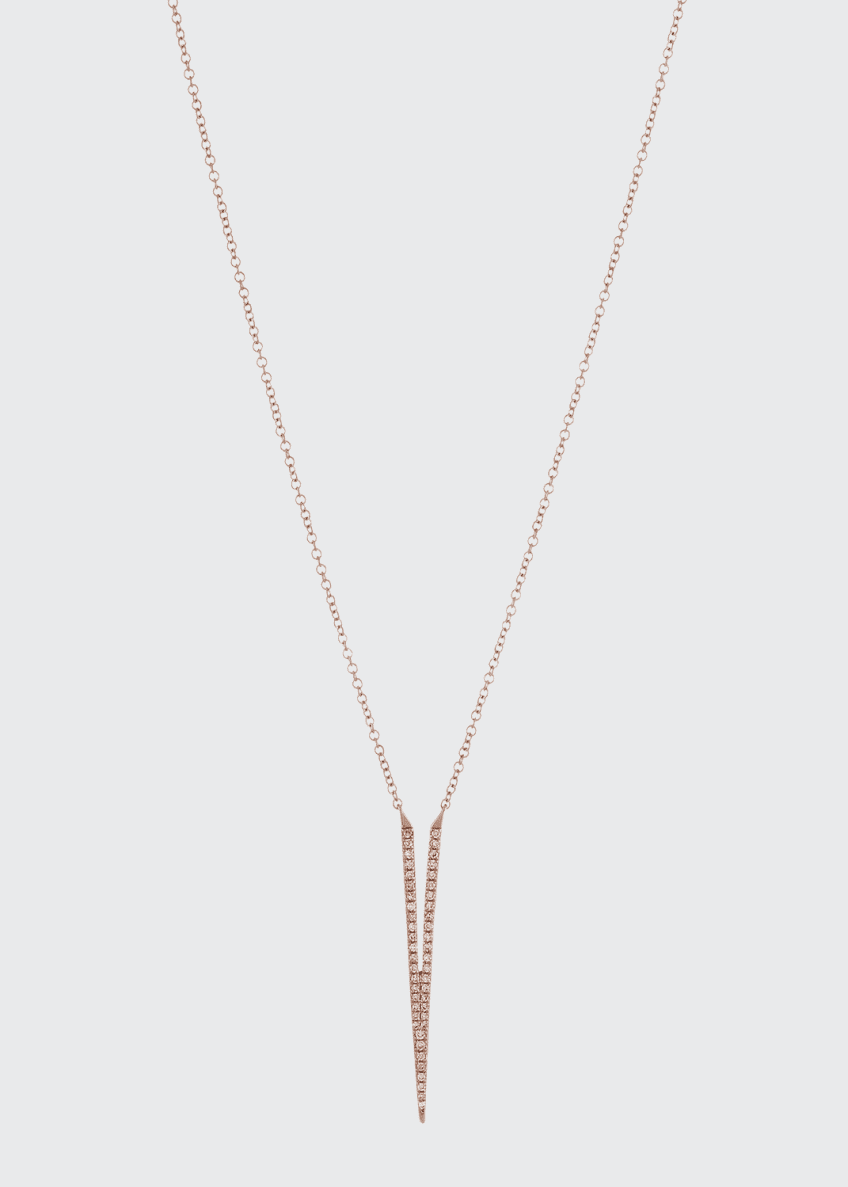Image 1 of 2: Split Dagger Diamond Pendant Necklace, Rose Gold