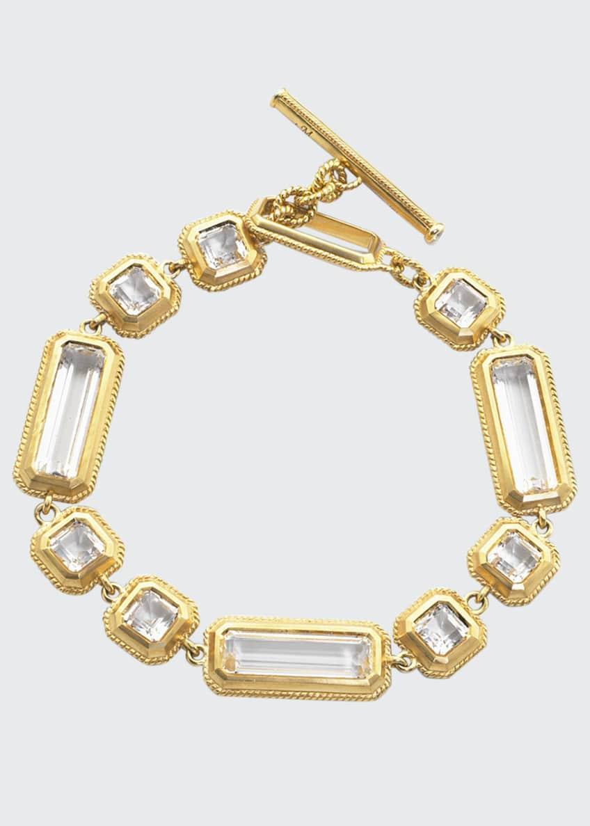 Monica Rich Kosann Yellow Gold Crystal Mosaic Bracelet