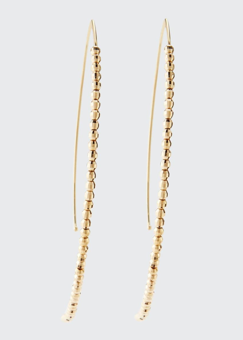 Image 1 of 2: 14k Gold Beaded Marquise Drop Earrings