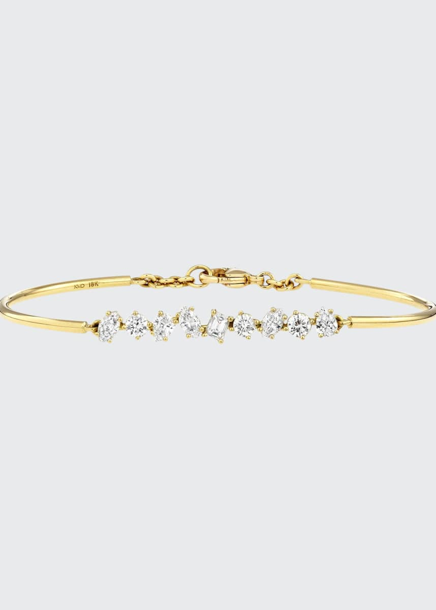 Kimberly McDonald 18K Gold Mixed Diamond Bar Wire Bracelet