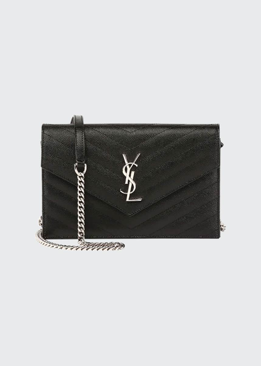 Saint Laurent Monogram YSL Wallet on a Chain, Black