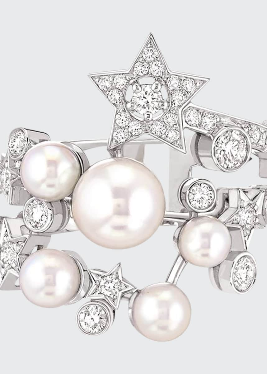 CHANEL COMÈTE Ring in 18K White Gold, Cultured Pearls and Diamonds
