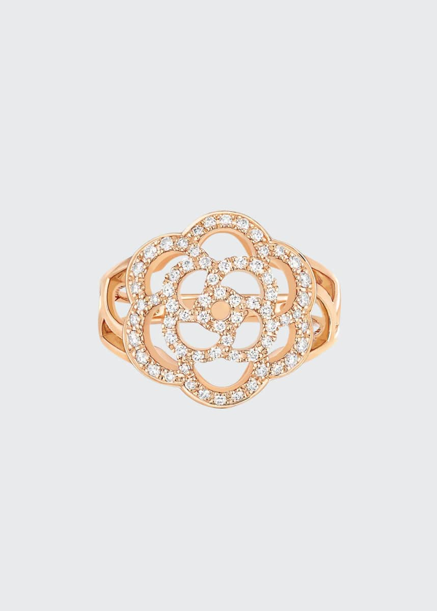 CHANEL CAMELIA Ring in 18K Pink Gold with Diamonds