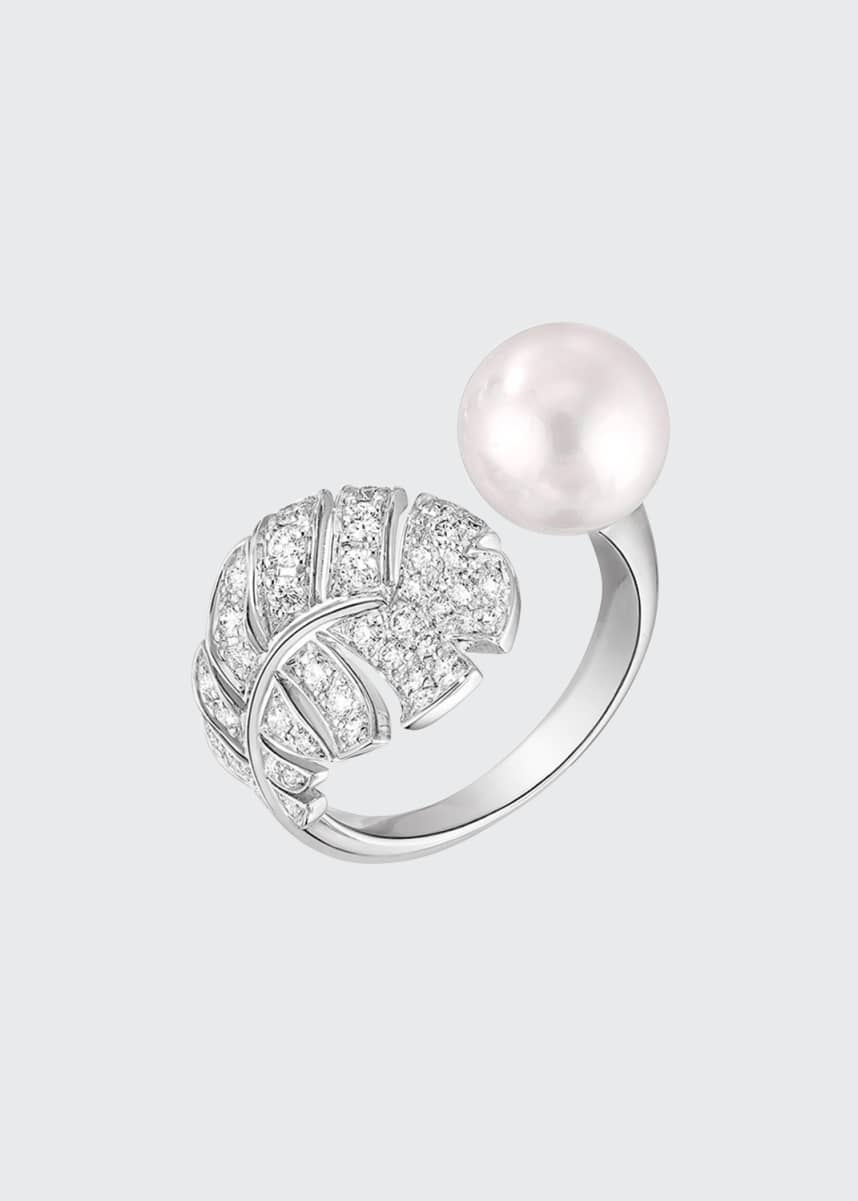CHANEL PERLE Plume Ring in 18K White Gold, Cultured Pearl and Diamonds