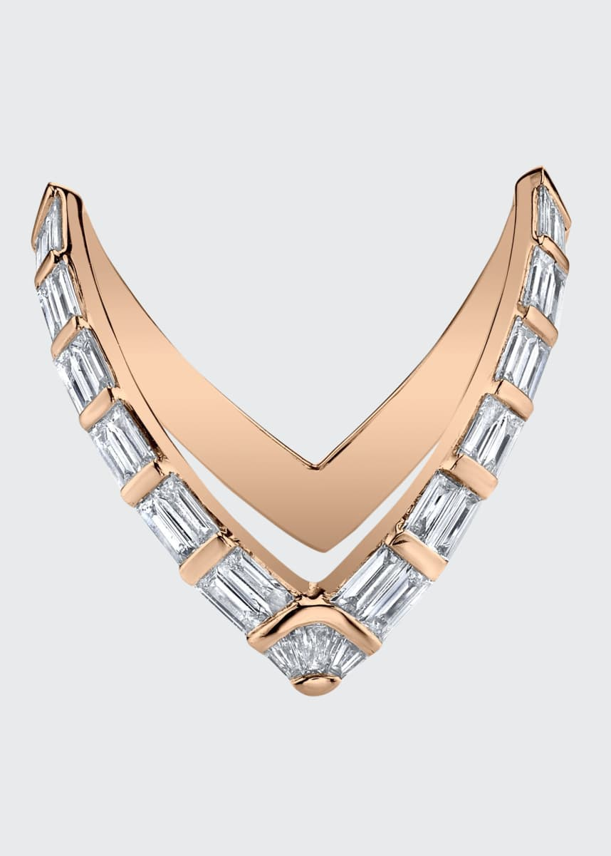 Anita Ko 18k Rose Gold Baguette Diamond-V Ring