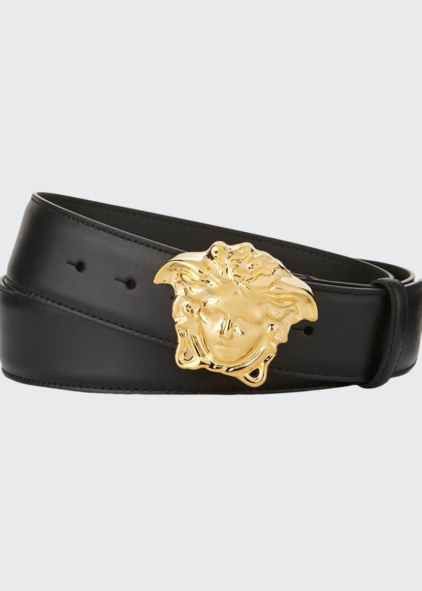Versace Leather Medusa-Buckle Belt