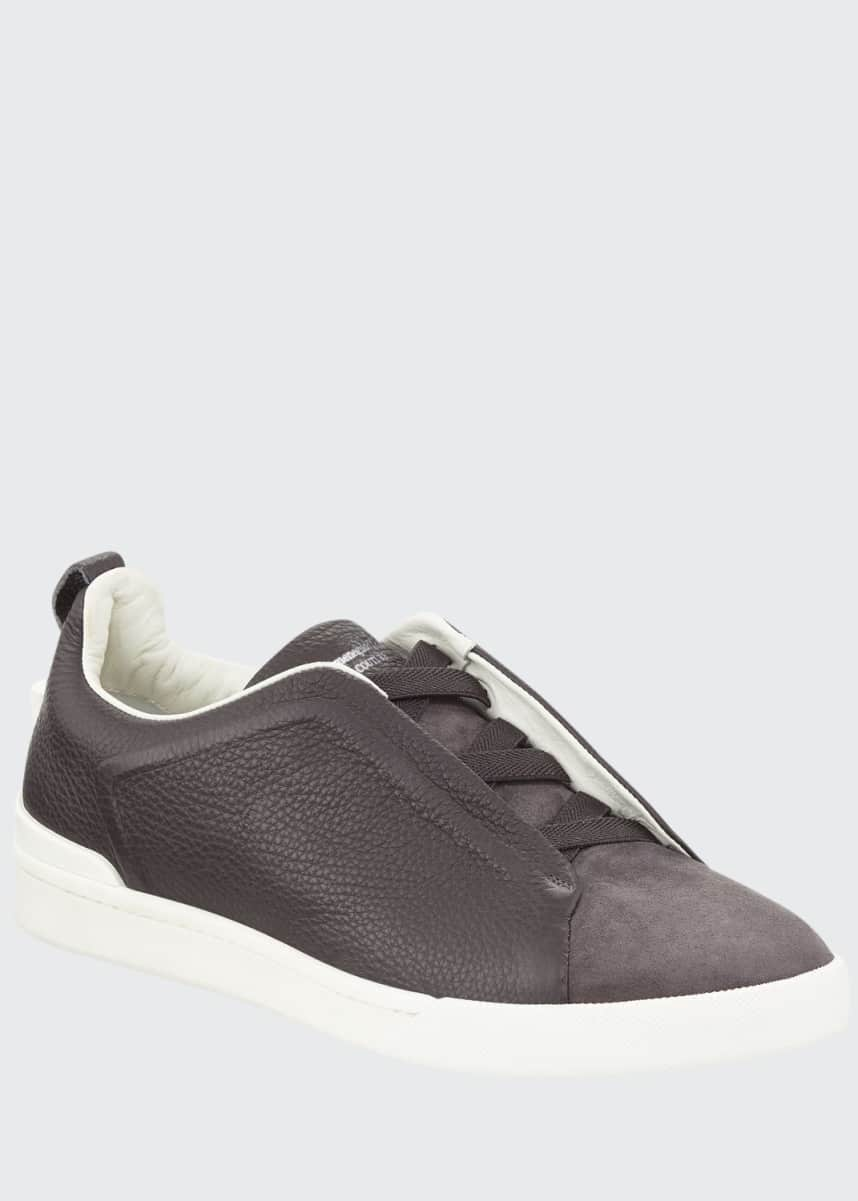 Ermenegildo Zegna Couture Men's Triple-Stitch Leather & Suede Low-Top Sneakers, Gray