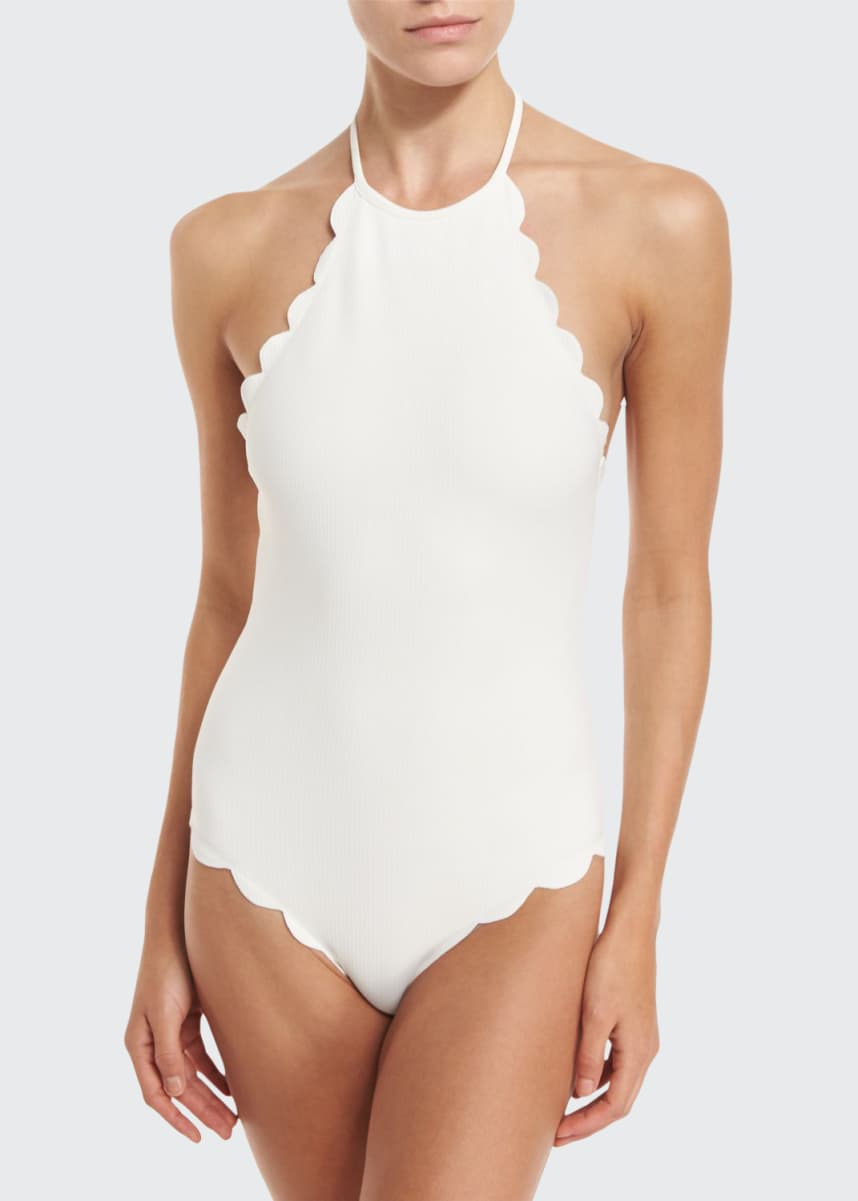Marysia Mott Scalloped Halter Maillot