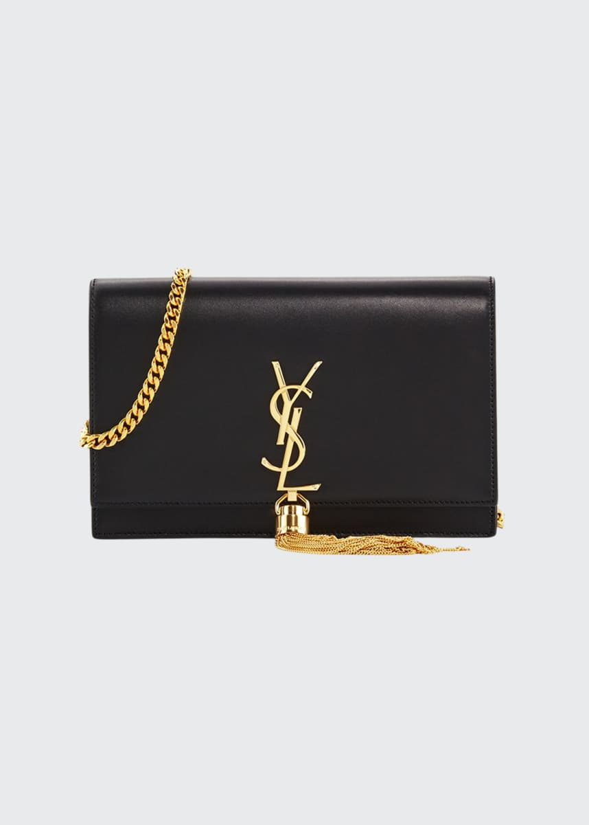 Saint Laurent Kate Smooth Calf Tassel Chain Wallet