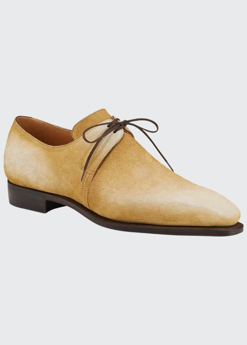 Corthay Men's Arca Pullman Suede Lace-Up Shoes