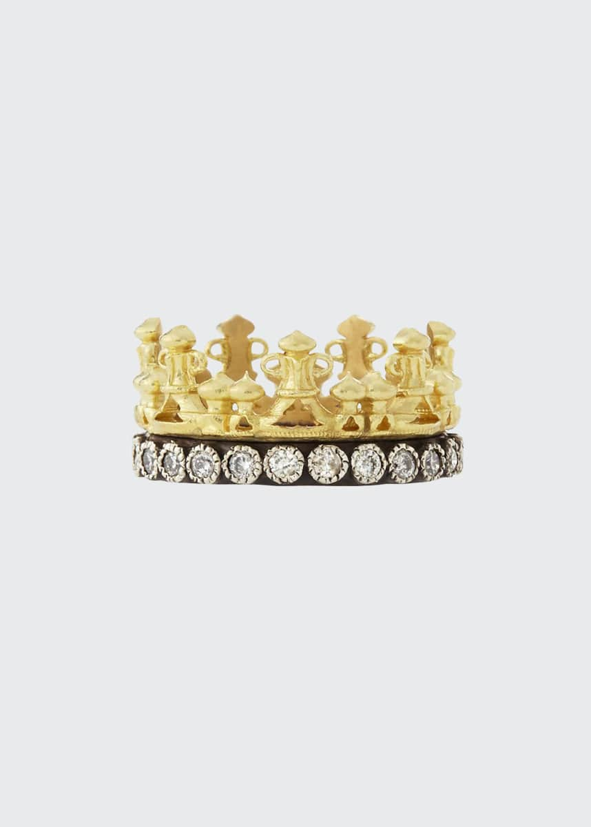 Armenta 18k Gold & Midnight Diamond Crown Ring, Size 5-8