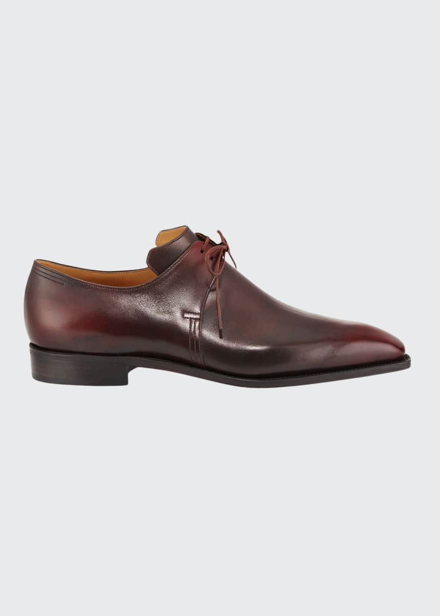 Corthay Arca Calf Leather Derby Shoe, Dark Burgundy