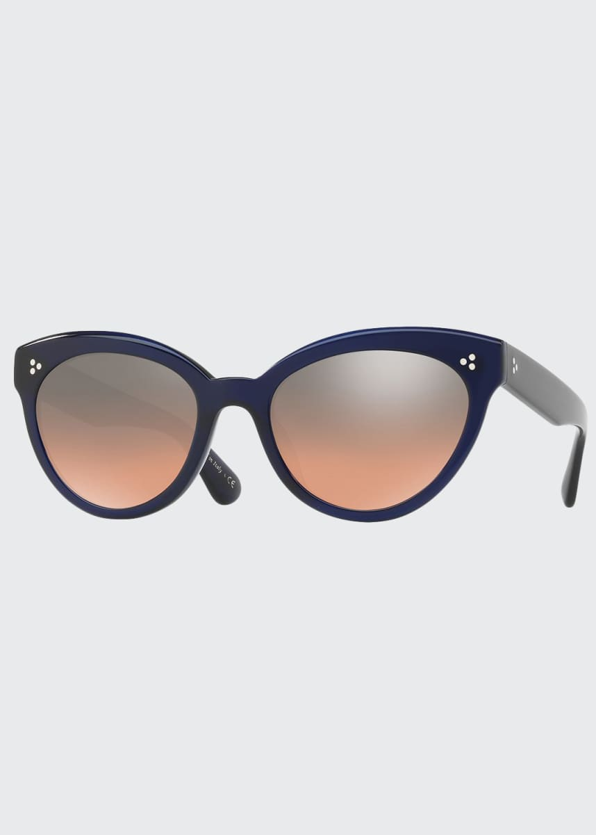 Oliver Peoples Roella Mirrored Cat-Eye Sunglasses, Blue