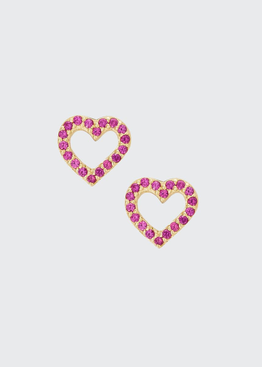 LANA GIRL BY LANA JEWELRY Girls' Pink Sapphire Heart Stud Earrings