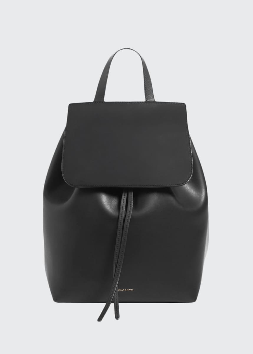 Mansur Gavriel Leather Flap-Top Backpack, Black/Red