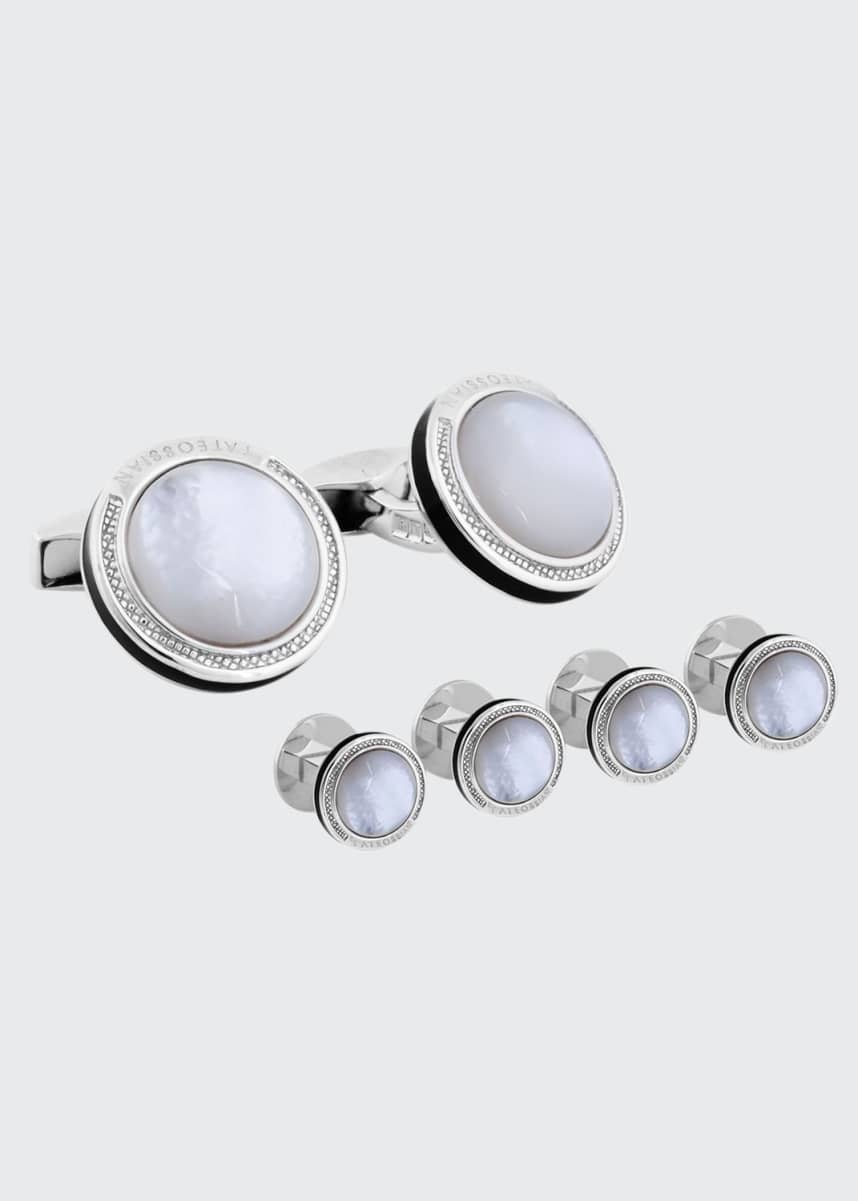 Tateossian Mother-of-Pearl & Sterling Silver Cuff Links & Stud Set