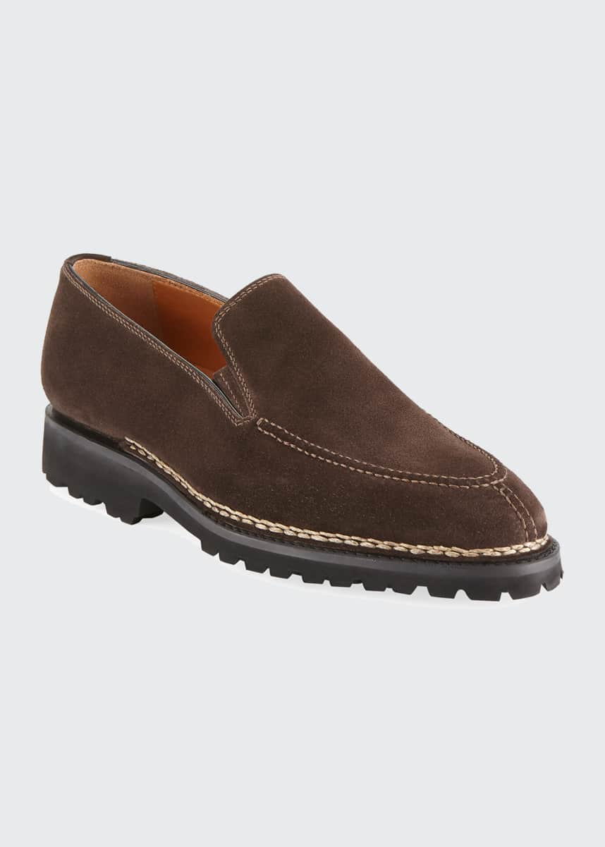 Bontoni Men's Suede Slip-On Loafer