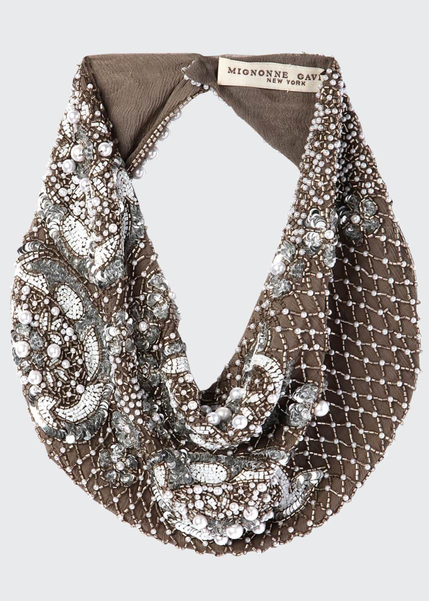 Mignonne Gavigan Le Charlot Beaded Scarf Necklace, Gray