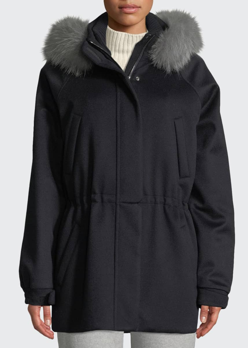 Loro Piana Cashmere Fox-Fur Hooded Parka Coat