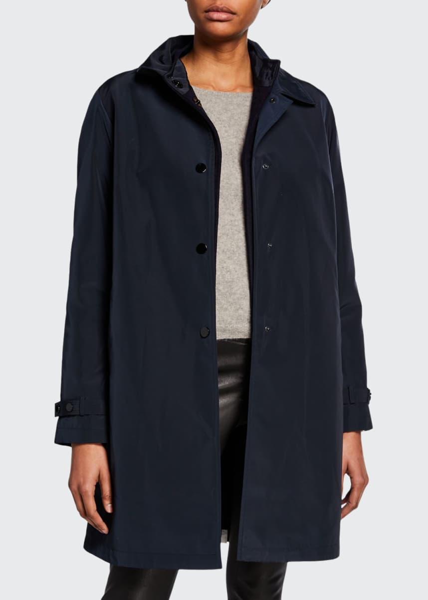 Jane Post Double Layer Snap-Front Rain Coat