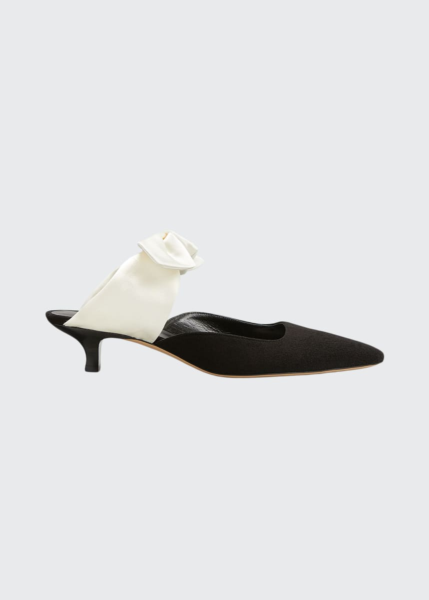 THE ROW Coco Suede & Satin Mule Pump