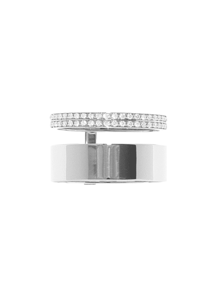 Repossi Berbere Module Two-Row Ring with One Row paved with Diamonds in 18K Gold