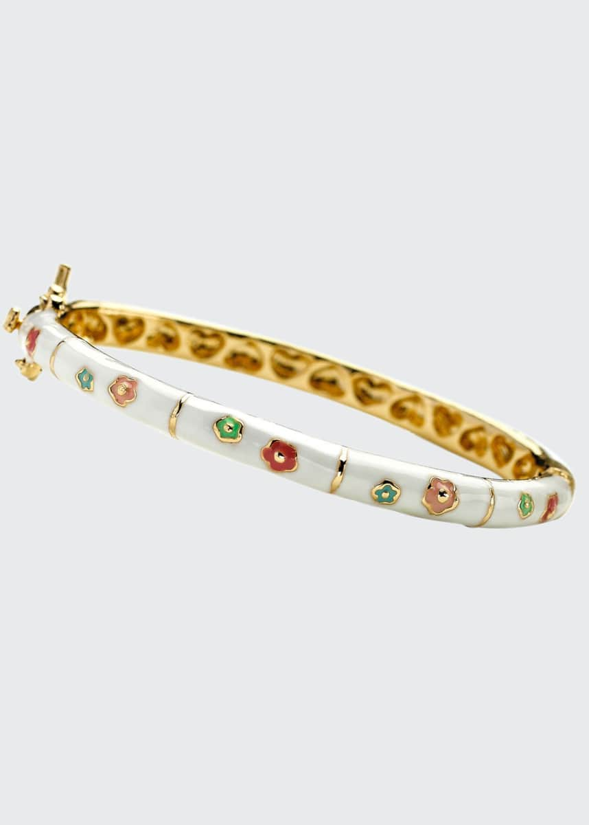 LMTS Girls' Flower Enamel Hinged Bangle, White