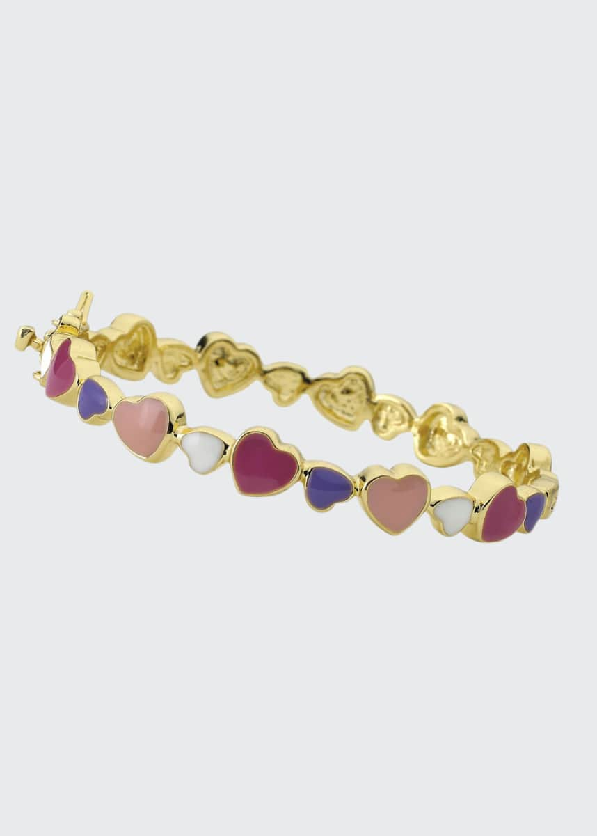 LMTS Girls' Multi Heart Enamel Bangle, Multi