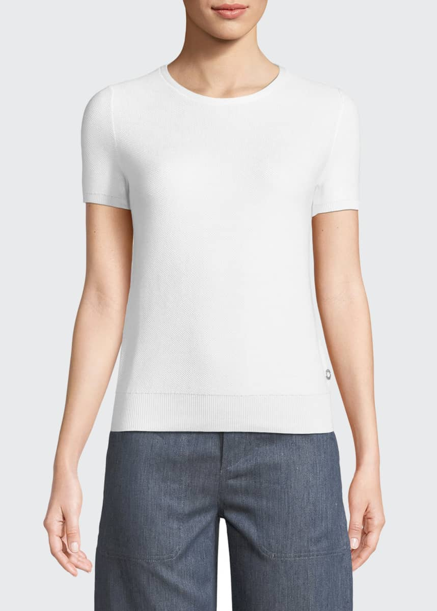 Loro Piana Beausoleil Crewneck Short-Sleeve Top