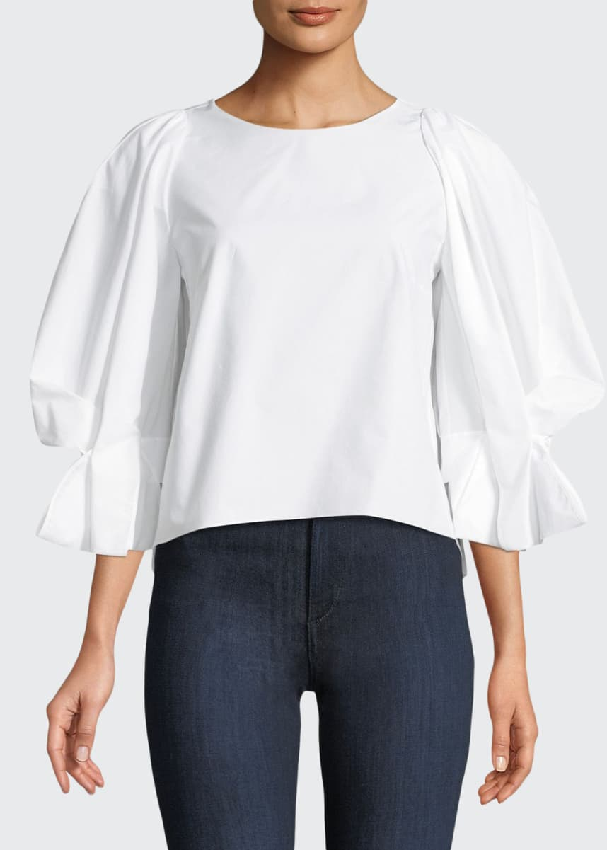 Delpozo Round-Neck Balloon-Sleeve Cotton Poplin Top
