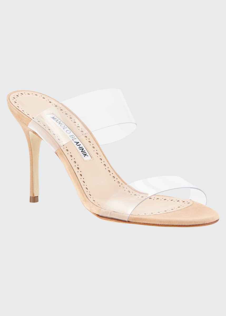 Manolo Blahnik Scolto PVC Two-Strap Sandals