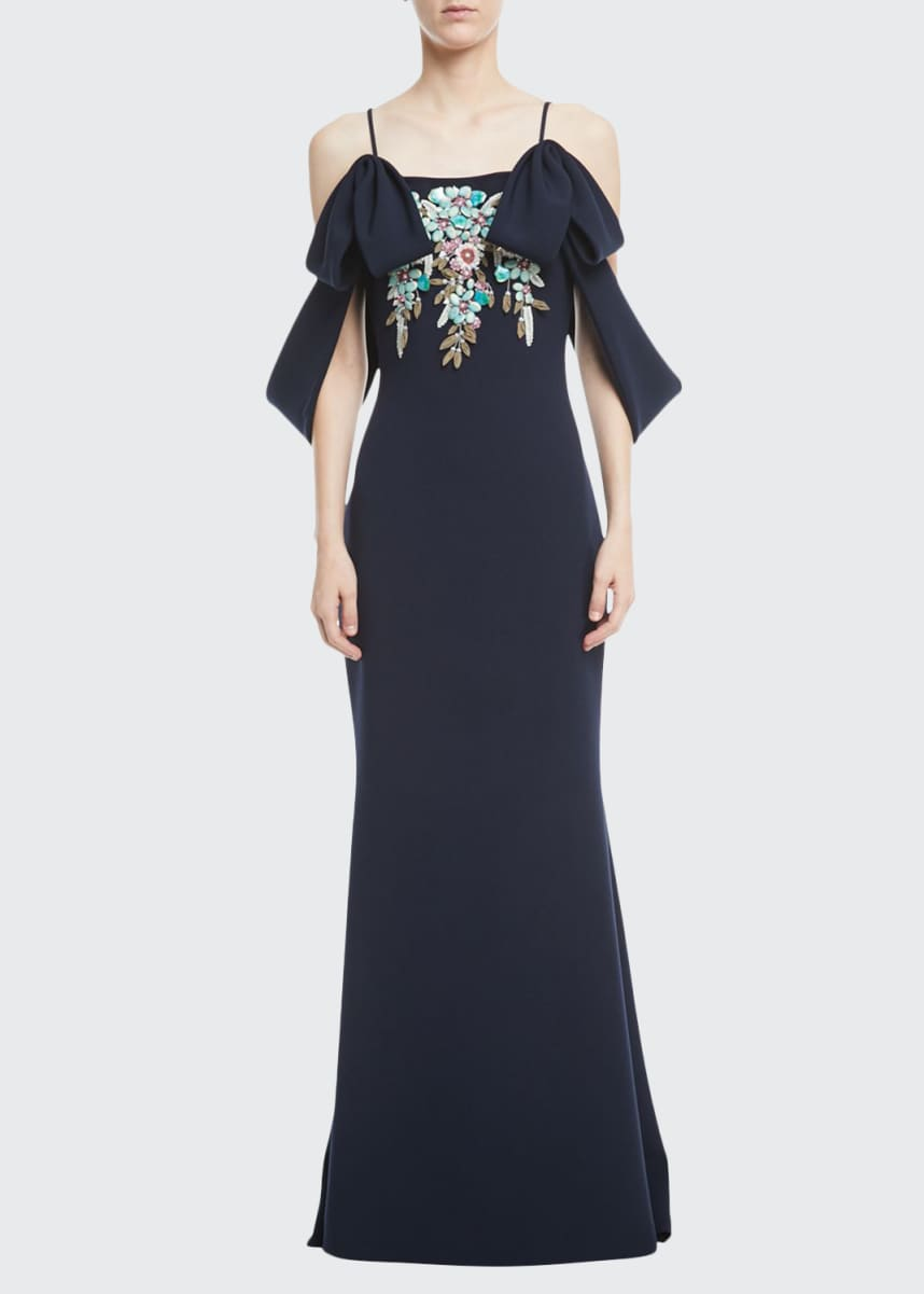 Badgley Mischka Couture Beaded Cold-Shoulder Crepe Gown
