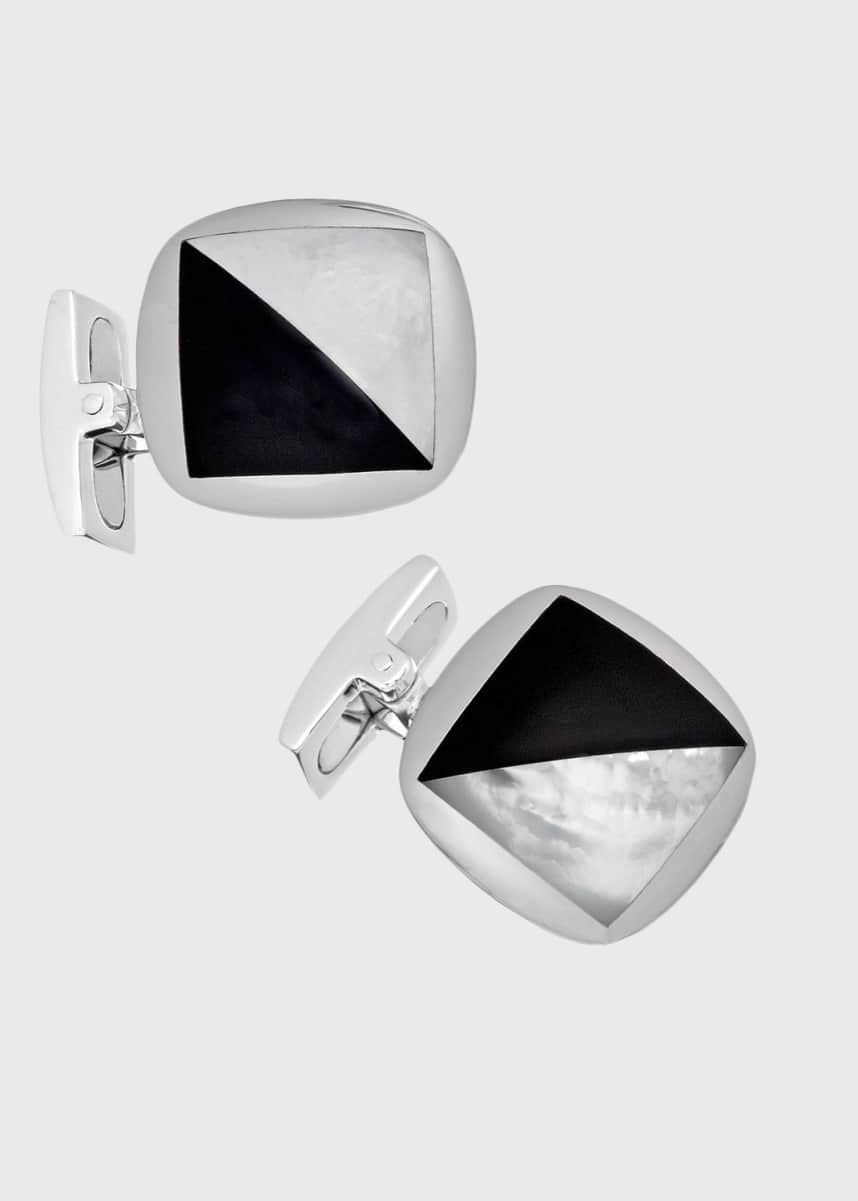 Jan Leslie Men's Square Onyx & Mother-of-Pearl Cufflinks
