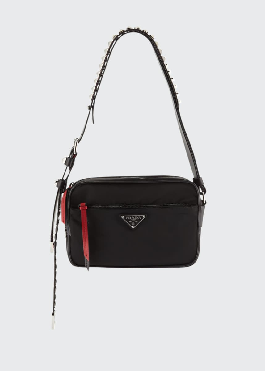 Prada Prada Nylon Shoulder Bag with Studding