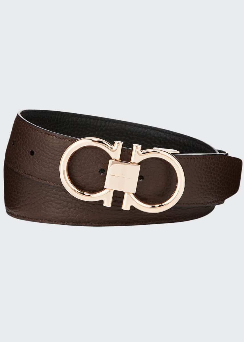 Salvatore Ferragamo Men's Reversible Leather Belt with Rose-Tone Gancini Buckle
