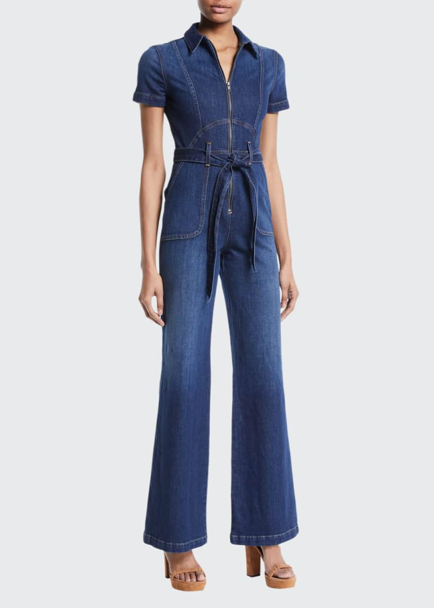 ALICE + OLIVIA JEANS Gorgeous Wide-Leg Fitted Denim Jumpsuit