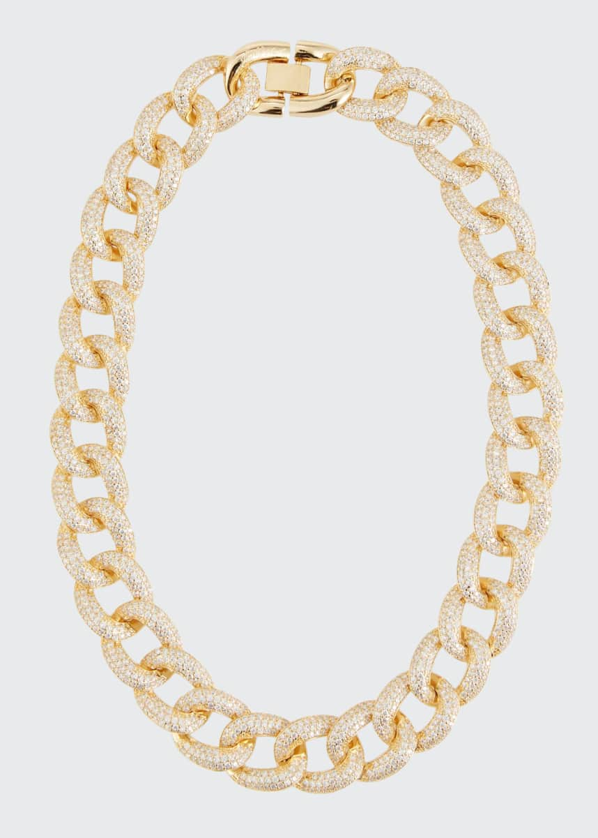 Fallon Armure Cubic Zirconia Pave Curb Chain Collar Necklace, Extra Large