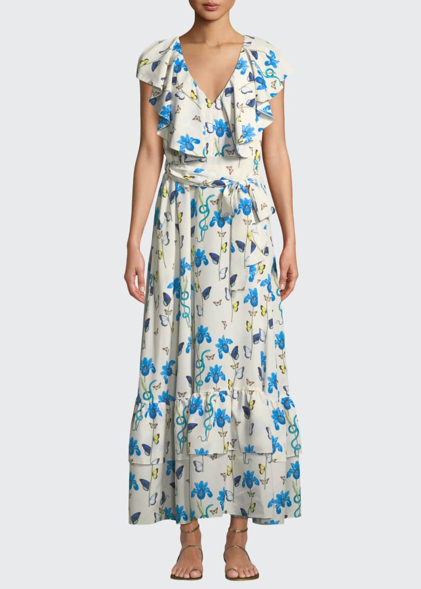 Borgo de Nor V-Neck Sleeveless Butterfly & Iris-Print Maxi Dress