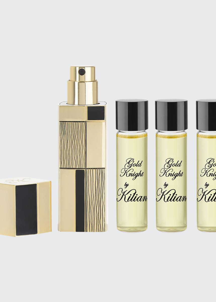 Kilian Gold Knight Travel Spray with its 4 x .25 oz refills