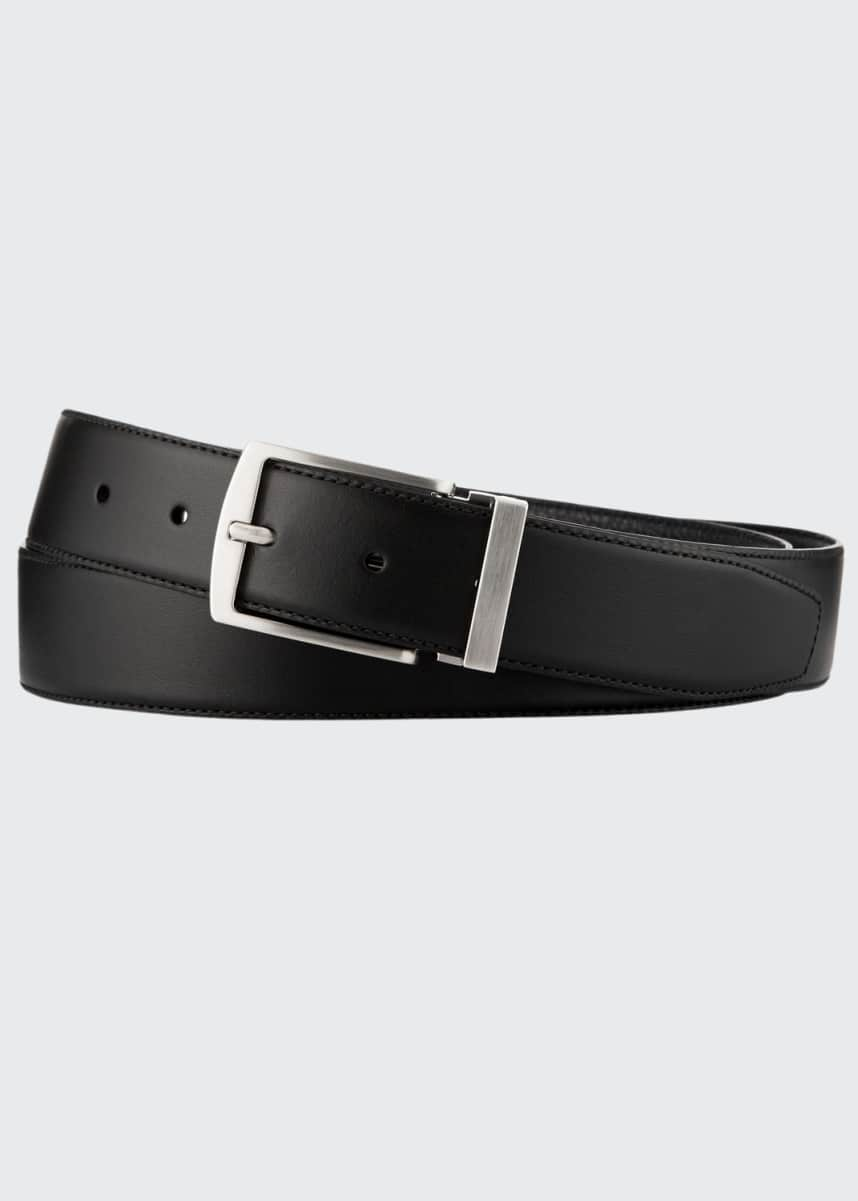 Giorgio Armani Men's Dual-Textured Leather Belt, Black/Blue