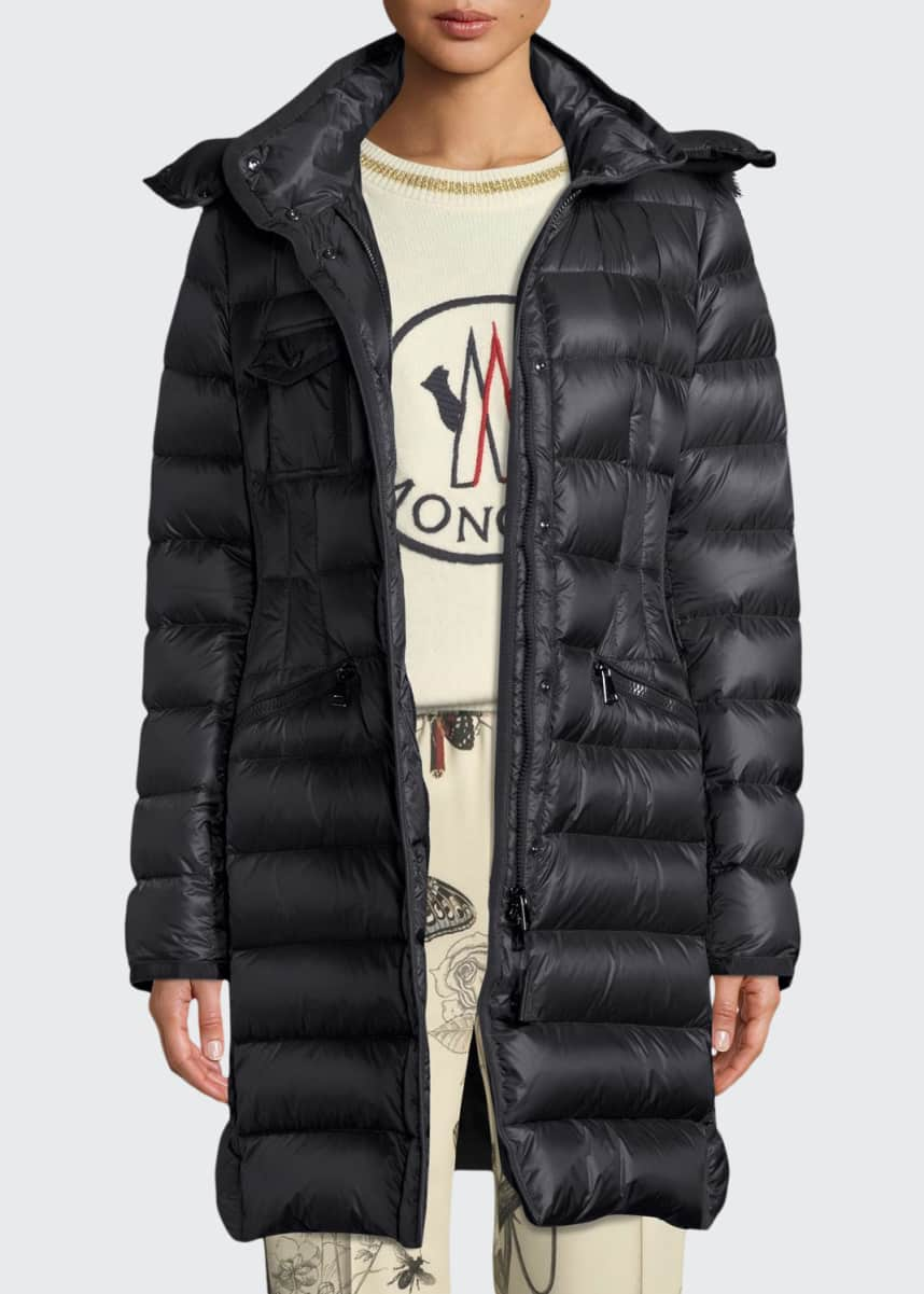 Moncler Hermifur Fitted Puffer Coat w/ Removable Fur Hood