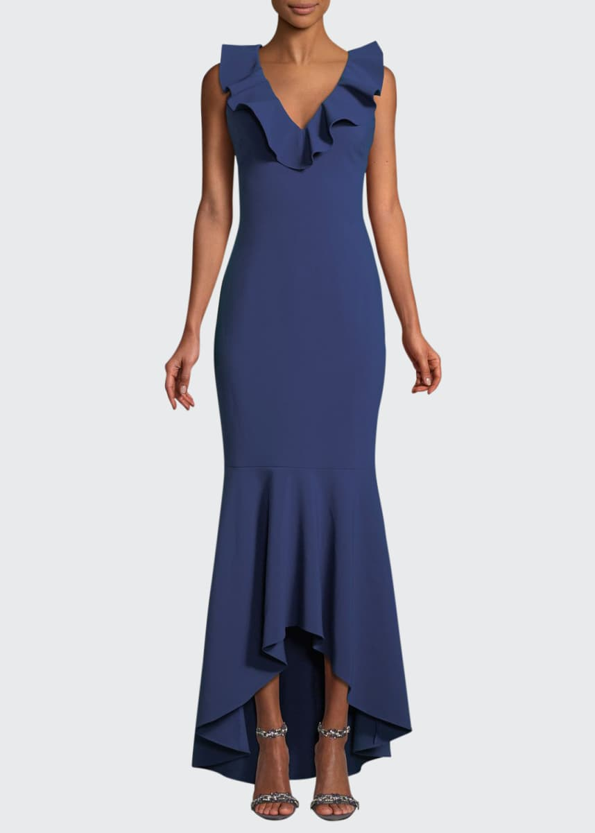Likely Rowen Ruffle V-Neck Sleeveless Gown