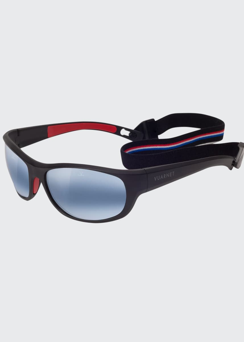 Vuarnet Men's Active Cup Wrap Nylon Sunglasses with Removable Strap